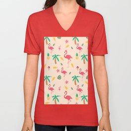 Summer pink watercolor tropical flamingo floral Unisex V-Neck