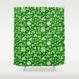 Lucky Green Watercolour Shamrock Pattern Shower Curtain