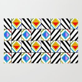 symetric tartan and gingham 18 -vichy, gingham,strip,square,geometric, sober,tartan Rug