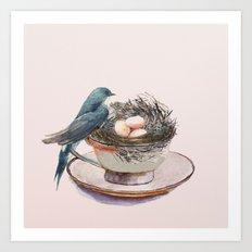 Bird nest in a teacup Art Print