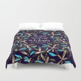 Flower of a brush touch design illustration / Blue Duvet Cover