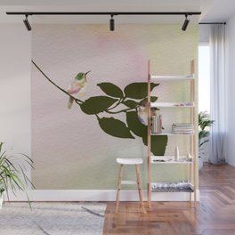 Watercolor Hummingbirds on a Branch Wall Mural