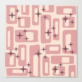 Retro Mid Century Modern Abstract Pattern 577 Dusty Rose Canvas Print