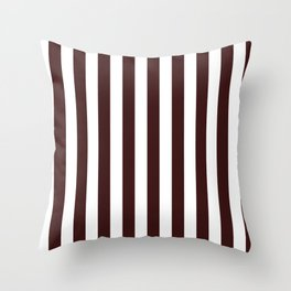 Narrow Vertical Stripes - White and Dark Sienna Brown Throw Pillow