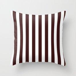 Narrow Vertical Stripes - White and Dark Sienna Brown Throw Pillow