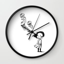 Girl and the Jellyfish Wall Clock