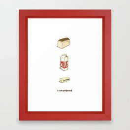 Loaf of Bread, Container of Milk and a Stick of Butter Framed Art Print