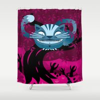cheshire Shower Curtains featuring Cheshire smile by LuisD