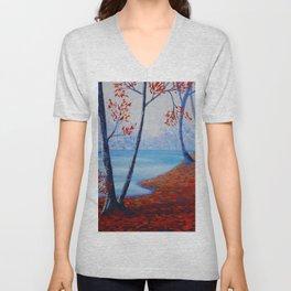 Autumn forest blue orange painting by Ksavera Unisex V-Neck