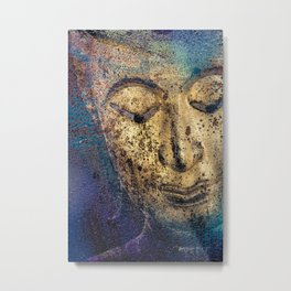 Buddha Face gold Metal Print