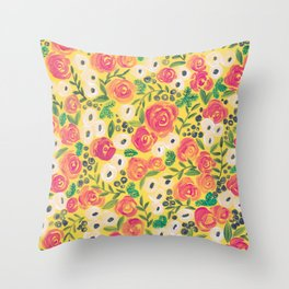 Minnie (Painted Flower Pattern) Throw Pillow