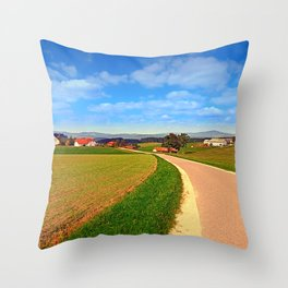 A road, a village and summer season | landscape photography Throw Pillow