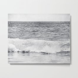 Black and White Ocean Wave Photography, Grey Seascape, Gray Neutral Sea Landscape, Coastal Waves Metal Print