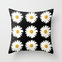 daisy Throw Pillows featuring Daisy by nessieness