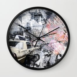 New York  street mixed media art Wall Clock
