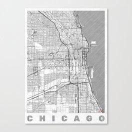 Chicago Map Line Canvas Print
