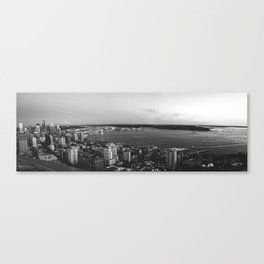 Seattle Summer Sunset from the Needle Panorama in Black and White Canvas Print