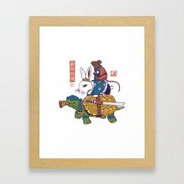 Kame, Usagi, and Ratto Ninjas White Framed Art Print