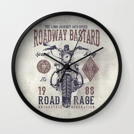Vintage Motorcycle Poster Style Wall Clock