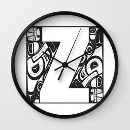 Northwest Pacific Coast American Native Totem White Letter Z Wall Clock