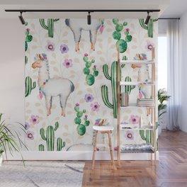 Cactus Flowers & Cute Lama pattern Illustration Wall Mural