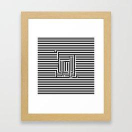 Cat on Stripes Framed Art Print