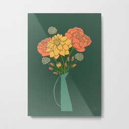 Flower Bouquet in a Vase Metal Print