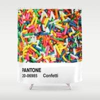 pantone Shower Curtains featuring PANTONE - Confetti by Et Voilà
