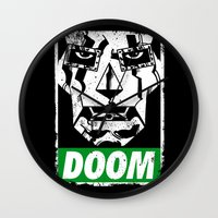doom Wall Clocks featuring Obey DOOM by TeeKetch