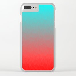 Cyan to red ombre flames Miami Sunset Clear iPhone Case