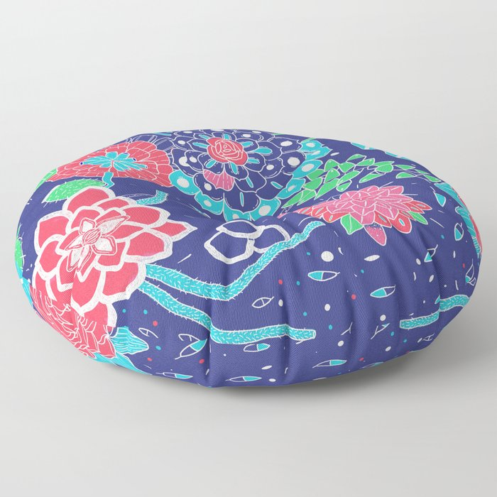 Flowers and Cactus Floor Pillow