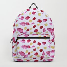 Hand painted burgundy red gold acrylic paint brushstrokes pattern Backpack