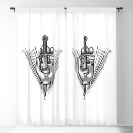 """""""True, Absolute Power"""" Occult Hand and Dagger Symbol Blackout Curtain"""
