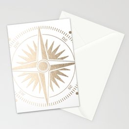 Gold on White Compass Stationery Cards
