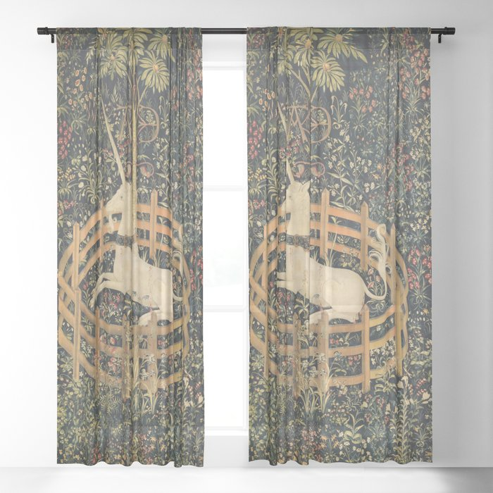 The Unicorn In Captivity Sheer Curtain