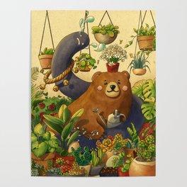 Garden Bear Poster