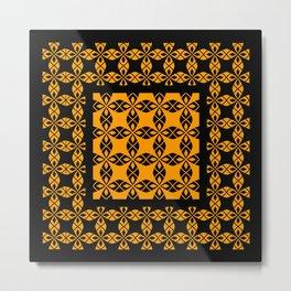African Ethnic Pattern Black and Orange Metal Print