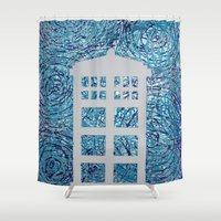 tardis Shower Curtains featuring Tardis by Sahara Novotny
