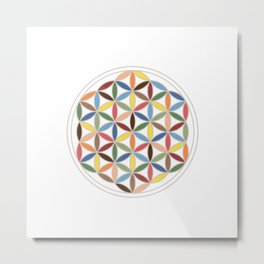 Flower of Life Retro Colors Metal Print