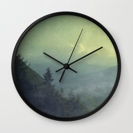 Mist over valley - view of Valmalenco / Italy Wall Clock