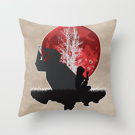 Girl blowing bubbles near bomb Throw Pillow