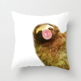 beautiful sloth bubblegum Throw Pillow