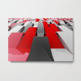 White, black and red plastic waves Metal Print