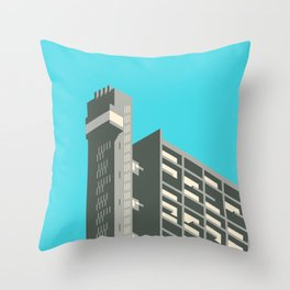 Trellick Tower London Brutalist Architecture - Cyan Throw Pillow