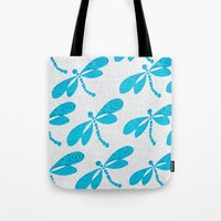 dragonfly Tote Bags featuring Dragonfly  by Saundra Myles