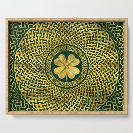 Irish Four-leaf clover with Celtic Knot Serving Tray