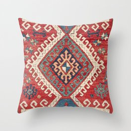 White Hooked Diamond // 19th Century Authentic Simple Colorful Aztec Accent Pattern Throw Pillow