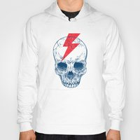 dude Hoodies featuring Skull Bolt by Rachel Caldwell