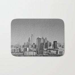 Black and White Philadelphia Skyline Bath Mat