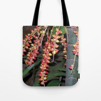 indonesia Tote Bags featuring coffee plant (Bali, Indonesia) by Christian Haberäcker - acryl abstract
